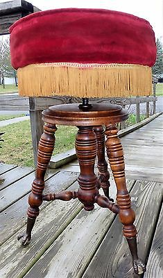 Rare Antique Holtzman Adjustable PIANO STOOL -Velvet Upholstery, Glass Claw Feet