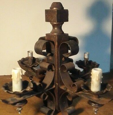 Antique Gothic Wrought Iron & Wood 4 Light Chandelier