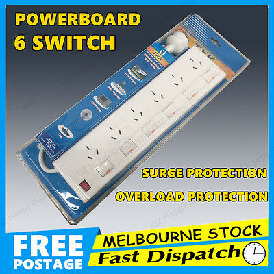 6 Way Outlet Power Strip Board Point Powerboard Surge Protector Socket Switch