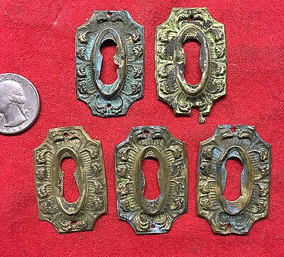 Antique Ornate SET OF 5 STAMPED BRASS KEY HOLE COVERS HARDWARE DRAWER DOOR OLD