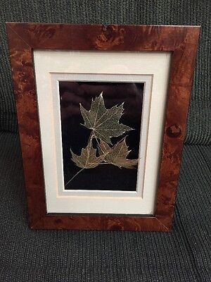 Signed Booker Morey Leaf Lines Shadowbox Framed Sugar Maple 1996 Etched Leaves