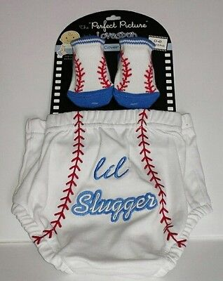 Baby Shower Boy first year, Diaper cover and socks. Lil Slugger, Baseball, blue