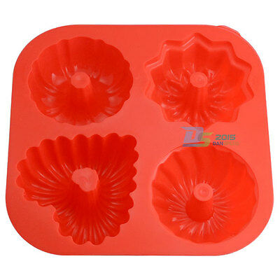 4-Cavity Non Stick Bundt Cake Bread Pastry Silicone Mould Jelly Pudding Mold DIY
