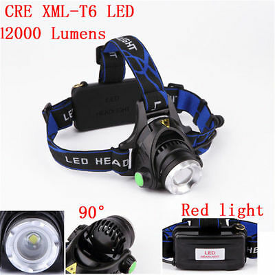 12000LM XML T6 LED réglable Zoomable Lampe Frontale Rechargeable Torche