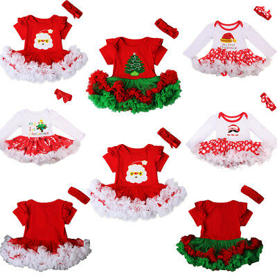 UK Christmas Newborn Baby Girls Romper Bodysuit Dress Headband Outfit Costume
