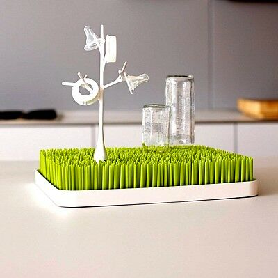 Boon GREEN Grass Infant Baby Bottle Drying Rack Excellent Used Clean Gray Twig