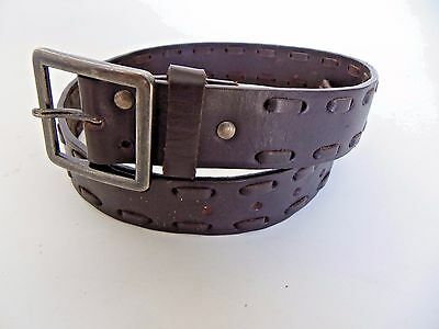 Children Place Genuine Leather Belt Dark Brown Large Stitching Youth Size Large
