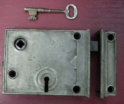 Antique Cast Iron Rim Lock W/ Keyed Deadbolt Right Hand Only #06