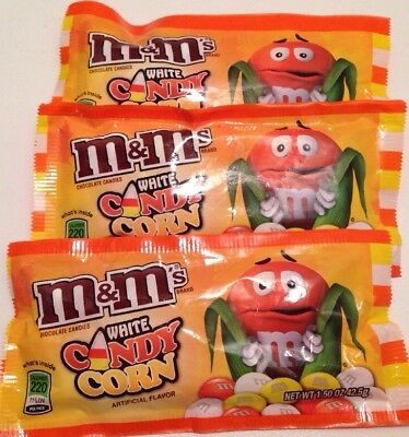 3 X M&M's WHITE Candy Corn Chocolate 2017 Stock Small Bags 1.50 oz 42.5g