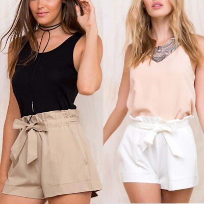 Women Bow Tie Pants Summer Casual Loose Shorts Beach Party High Waist Trousers