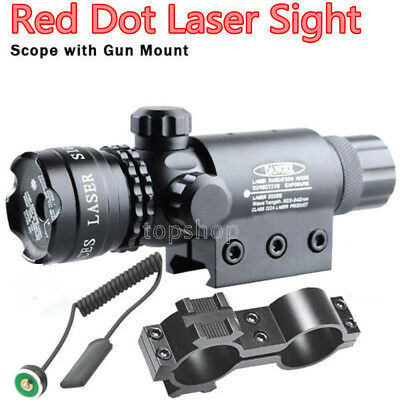 Tactical Red Dot Laser Sight Rifle Gun Scope Rail+Remote Switch Beam For Hunting
