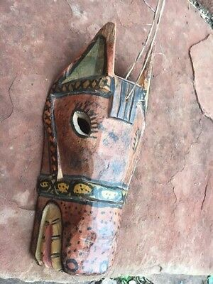 Horse Hand Carved Hand Painted Guatemalan Wooden Mask Chichicastinango