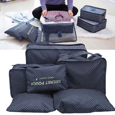6x Waterproof Travel Kit Storage Bag Clothes Packing Luggage Organizer Suitcase