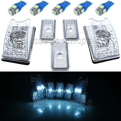 5pcs Clear Roof Cab Marker Cover w// Ice Blue 168 LED Light for 03-09 Hummer H2