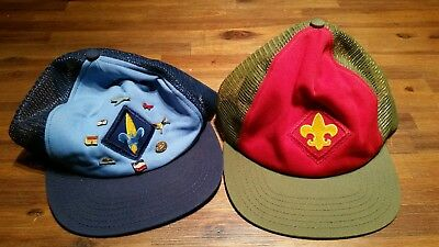 Vtg BSA OLIVE GREEN / RED  BOY SCOUT CAP HAT -  ADJUSTABLE REAR SNAP - 1990's