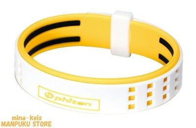 Phiten RAKUWA Bracelet S DUO Type Titanium 15cm White Yellow F/S with tracking
