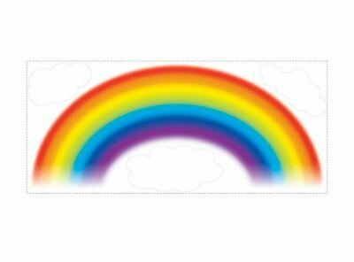 "RAINBOW Giant 42"" Wall Decals White Clouds Mural Room Decor Nursery Stickers"