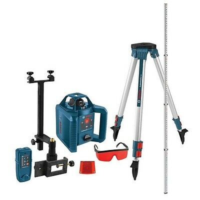 Rotary Laser Level 800 Ft Self Leveling 5 Pc Kit Tripod Rod Laser Reconditioned