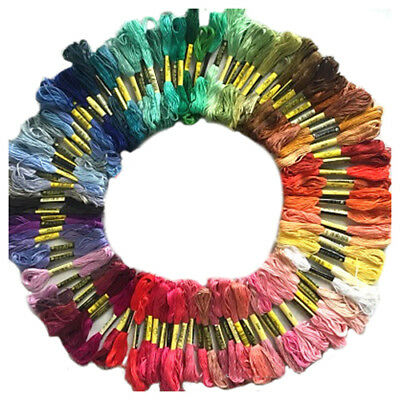 100 skeins coloured embroidery thread cotton needle craft sewing floss kit O2Z9