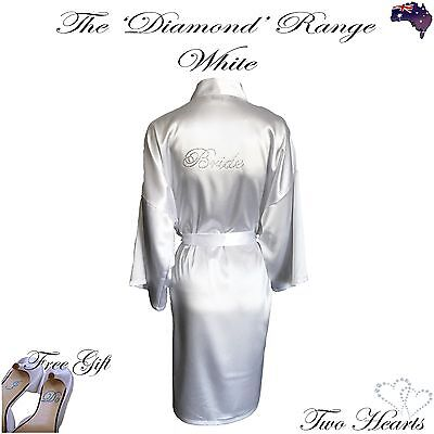 Satin Diamante Bride Robes - High Quality Wedding Bridal Gown White Pink Black+