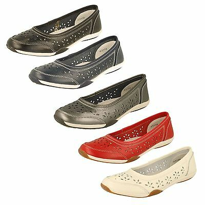 DOWN TO EARTH LADIES LEATHER SLIP ON FLAT BALLET PUMPS CASUAL SHOES F8R0448