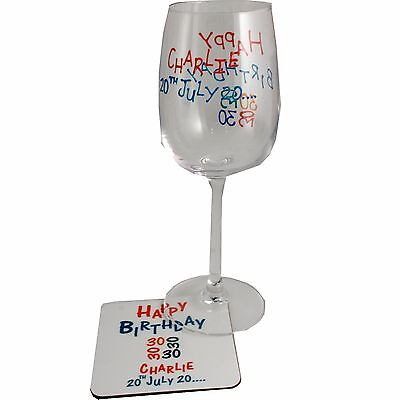 Personalised 30th Birthday Wine Glass and Coaster Gift Set (Brights)