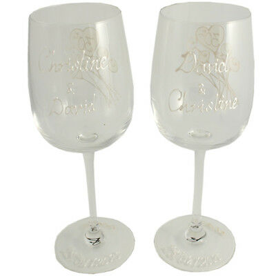 Personalised 30th Wedding Anniversary Pair of Wine Glasses Flower