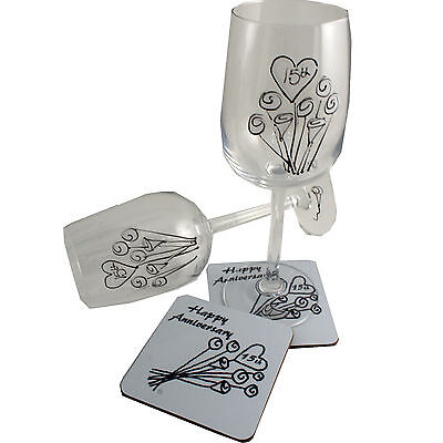 15th Wedding Anniversary Wine Glass and Coaster Gift Set Crystal anniversary