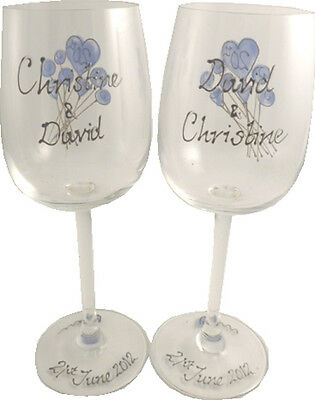 Personalised 20th Wedding Anniversary Pair of Wine Glasses Flower