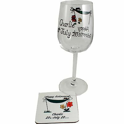 Personalised Retirement Wine Glass and Coaster Gift Set