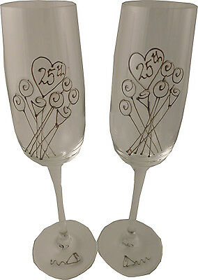 25th Wedding Anniversary Pair of Champagne Flutes Flower