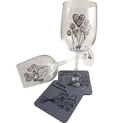 10th Wedding Anniversary Wine Glass and Coaster Gift Set Tin anniversary