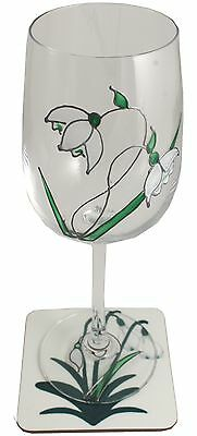 Snowdrop Wine Glass and Coaster Gift Set