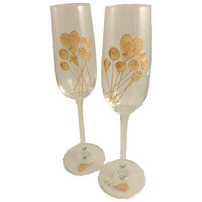 Personalised 1st Wedding Paper Anniversary Pair of Champagne Flutes Flower