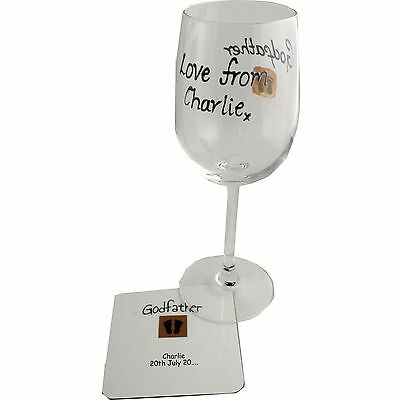Personalised Godfather Wine Glass and Coaster Gift Set