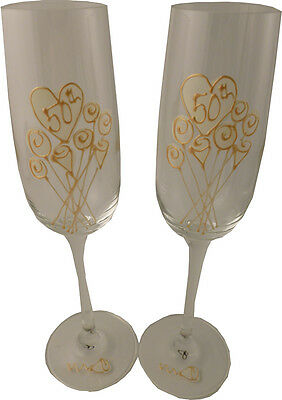 50th Wedding Anniversary Pair of Champagne Flutes Flower