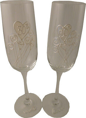30th Wedding Anniversary Pair of Champagne Flutes Flower
