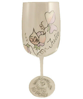 Personalised 50th Birthday Sweet Pea Gift Wine Glass