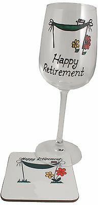 Retirement Wine Glass and Coaster Gift Set