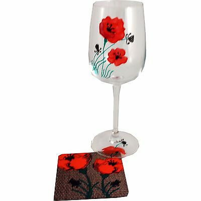 Poppy Wine Glass and Coaster Gift Set
