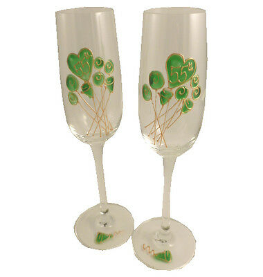 Personalised 55th Wedding Anniversary Pair of Champagne Flutes Flower