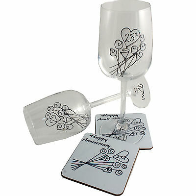 25th Wedding Anniversary Wine Glass and Coaster Gift Set Silver anniversary