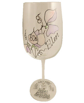 Personalised 80th Birthday Gift Sweet Pea Gift Wine Glass