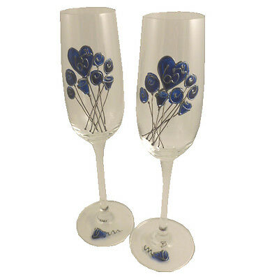 Personalised 65th Wedding Anniversary Pair of Champagne Flutes Flower