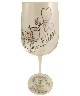 Personalised 70th Birthday Sweet Pea Gift Wine Glass