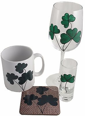 Shamrock Wine Glass, Shot glass, Ceramic Mug and Coaster Gift Set