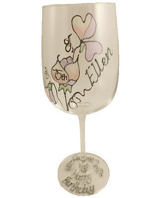 Personalised 75th Birthday Gift Sweet Pea Gift Wine Glass