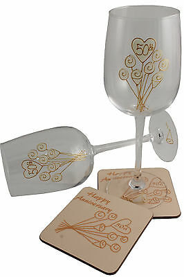 50th Wedding Anniversary Wine Glass and Coaster Gift Set Gold anniversary