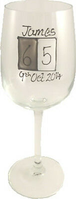 Personalised 65th Birthday Gift Wine Glass (Grey Sq)