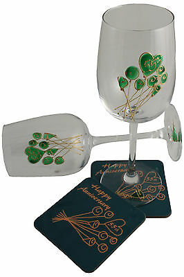 55th Wedding Anniversary Wine Glass and Coaster Gift Set Emerald anniversary